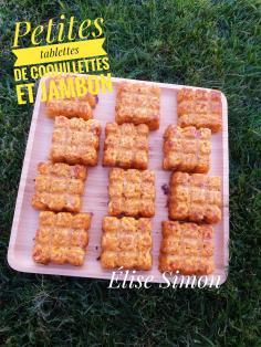Petites tablettes de coquillettes et jambon