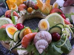 Tarte couronne salée du potager etfruits de mer